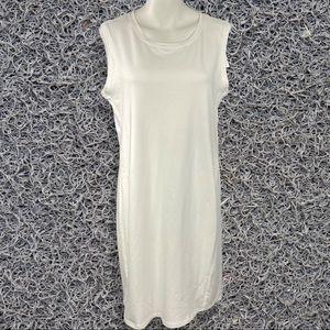Eileen Fisher dress white cotton sleeveless jersey